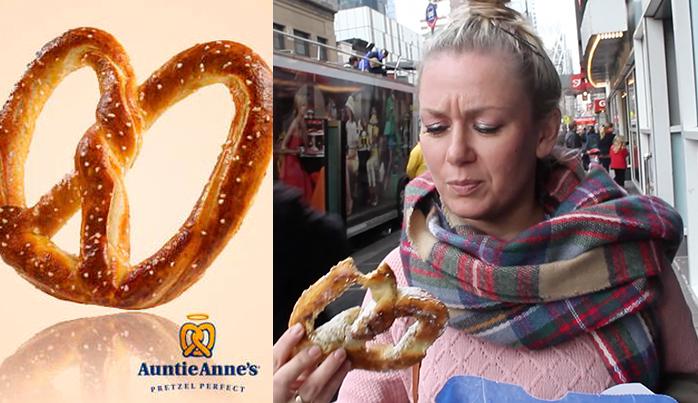 pretzel Auntie Anne's. Comer barato en Nueva York
