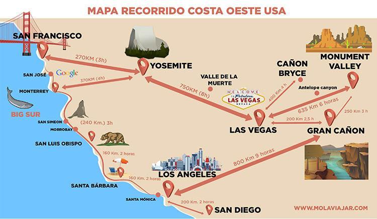 mapa costa oeste USA