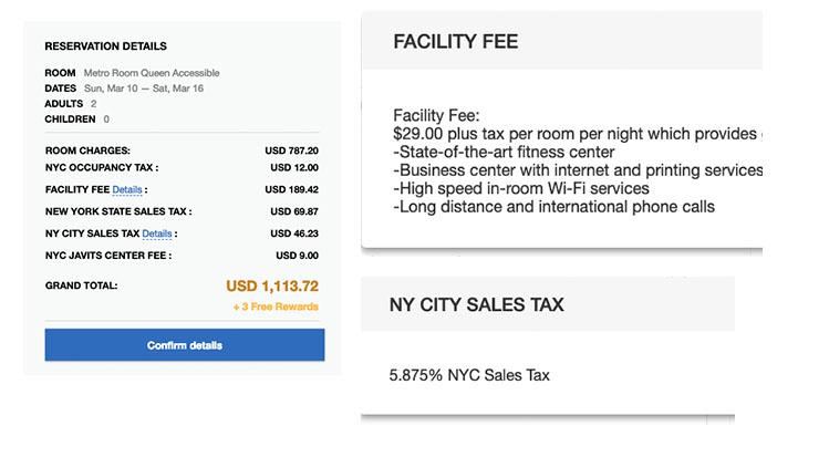 Nueva York tasas hoteles