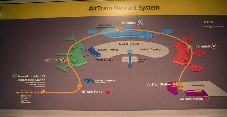 mapa aeropuerto newark airtrain