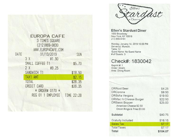 tasas restaurantes nueva york