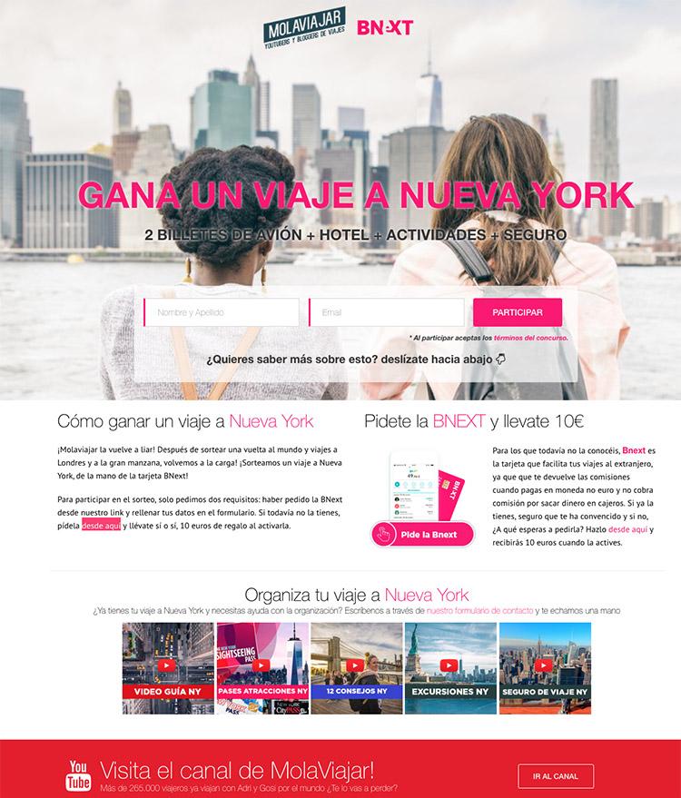 landing sorteo viaje Nueva York