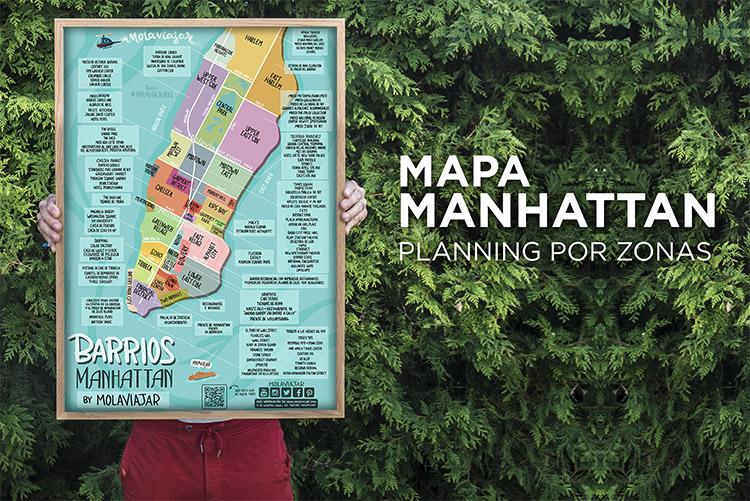 Mapa de Manhattan detallado. Planning por zonas.