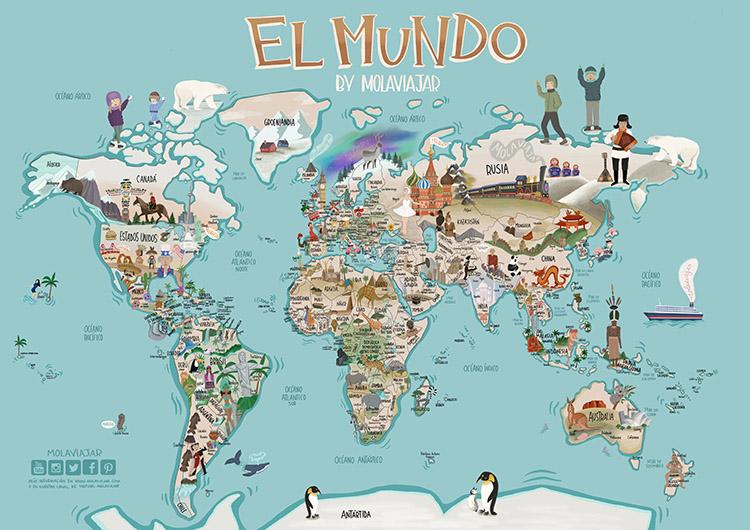 mapa del mundo ilustrado por Molaviajar