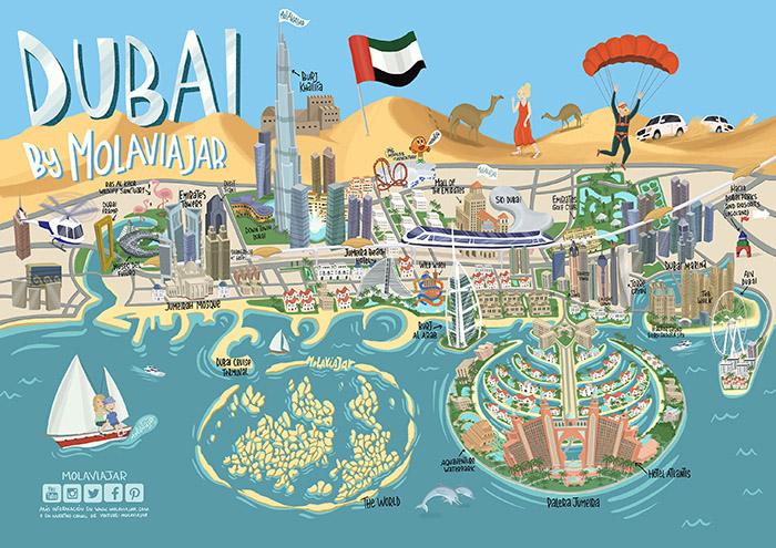 Mapa Dubai por Molaviajar
