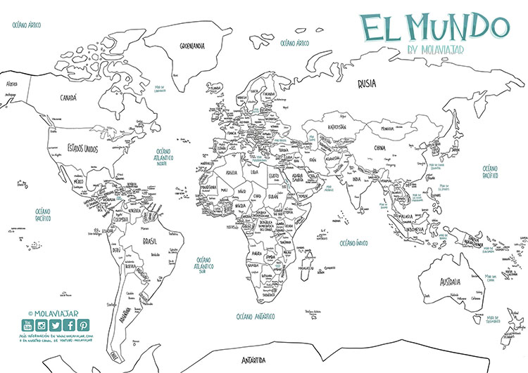 mapa del mundo colorear pintar
