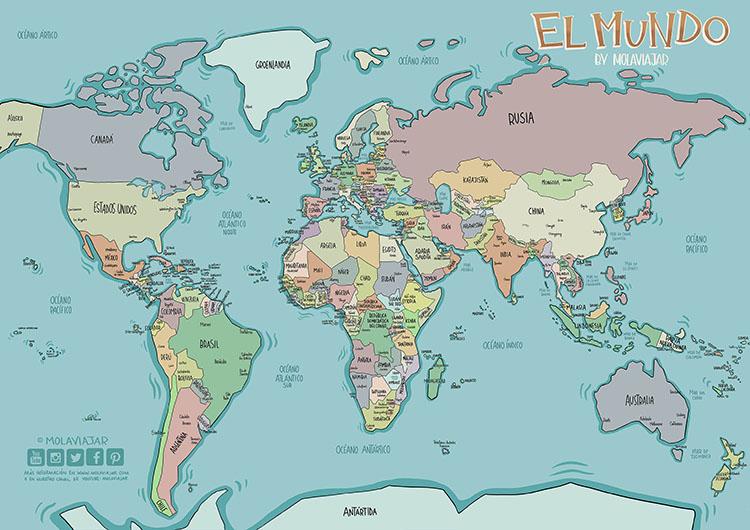 mapa mundi paises y ciudades