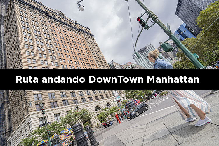 Ruta andando por downtown Manhattan