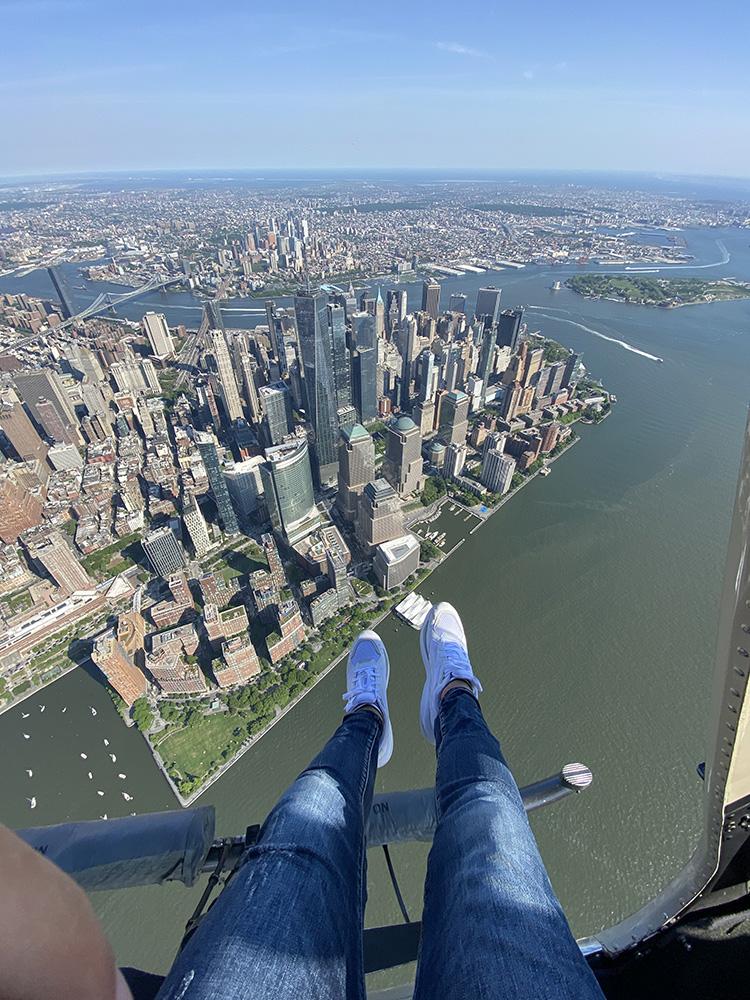 shoes-selfie Helicoptero sin puertas en Nueva York